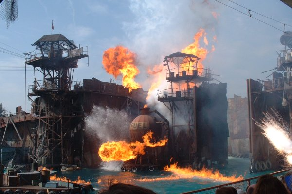 The fiery end of the Waterworld show!