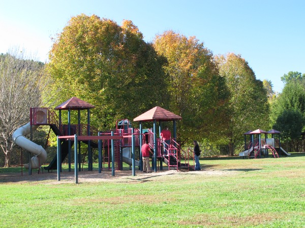 The big kid and toddler playgrounds.