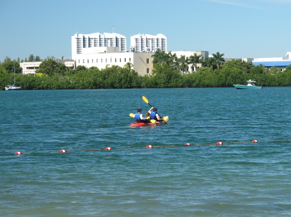 Kayakers paddling past the cove.
