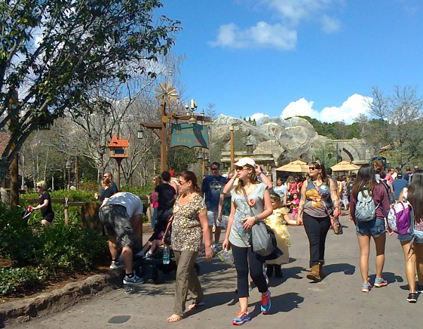 The new area in Fantasyland, crowds of people and not much shade.