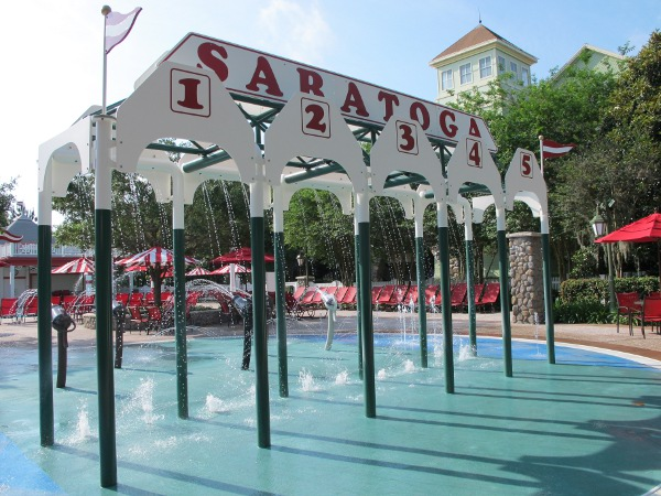 Horse-racing splash pad at the second pool at Saratoga Springs Resort.