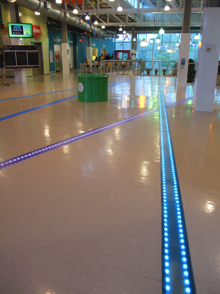 Lit-up floor in the lobby.