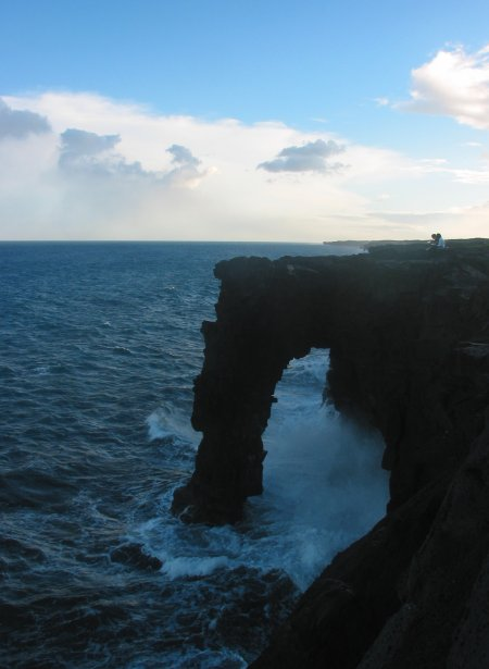 The Holei Sea Arch, near the ranger station in Hawaii Volcano's National Park.