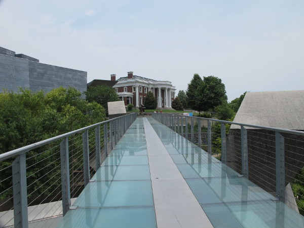 Frosted glass pedestrian bridge.