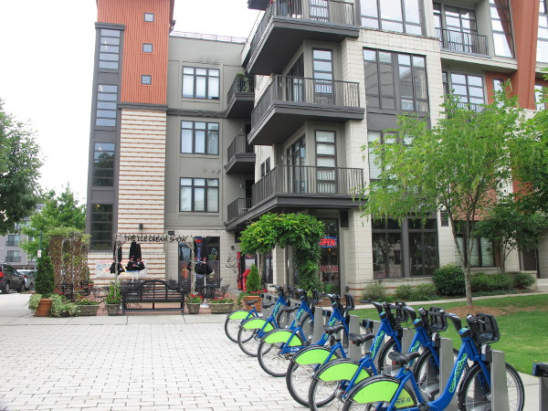 Bikes for rent outside the modern apartments near 129 Walnut Street.