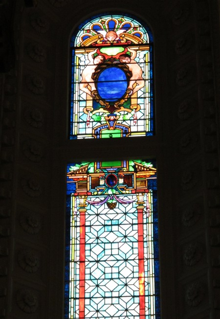 Stained glass windows inside the church.