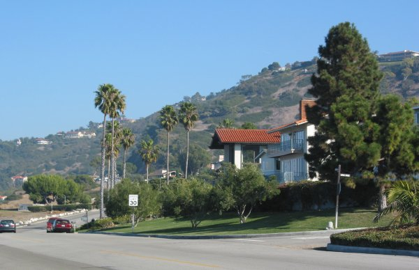 The multimillion-dollar homes across the street, and hillside in the background.