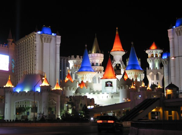 The excalibur, with its drawbridge, turrets, and pure magic!
