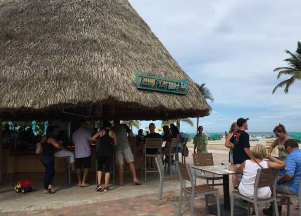 Grass shack on the beach at the Margaritaville Hollywood Beach Resort.