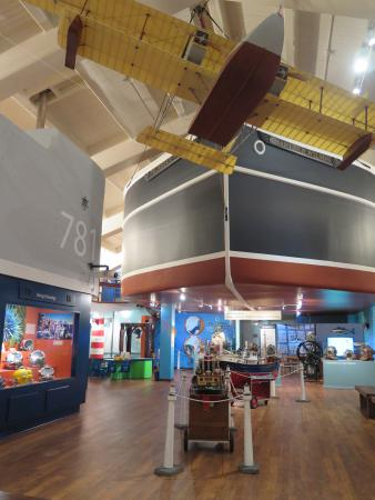 The museum has some amazing decor, such as the theater in the background that looks like the hull of a oceanliner.