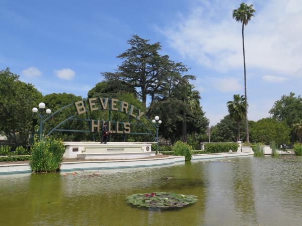 The iconic sign in Beverly Gardens Park.