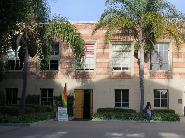 A student services building in Bruin Plaza.