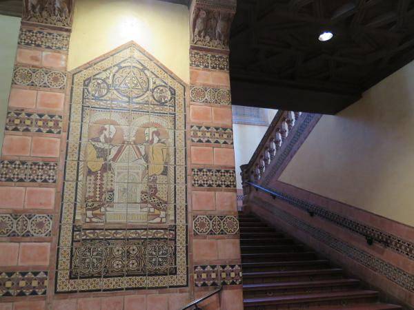 Stairway and artwork in Powell Library.