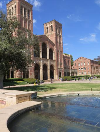 The fountain by Royce Hall.
