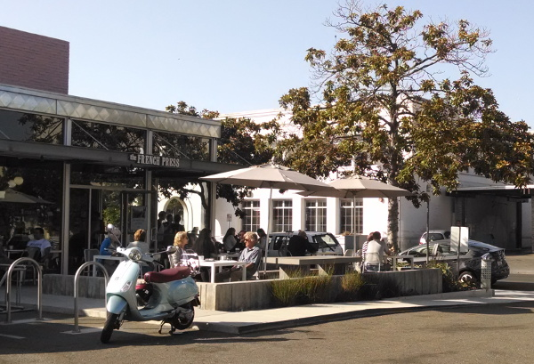 French Press, at 528 Anacapa St, has lots of young people and a great patio.