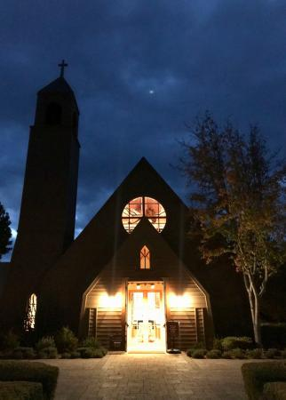 St Mark's-In-The-Valley Episcopal Church, one block west of Grand Ave, is beautiful at night. Photo by Nichole Dechaine.