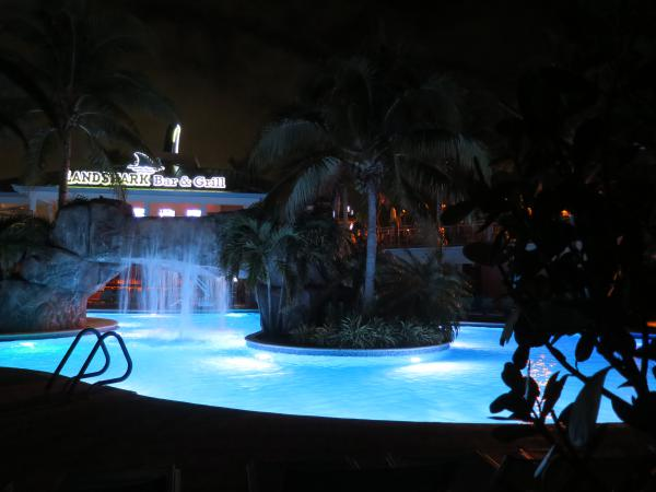 Waterfall over rock arch, in the pool at Margaritaville Hollywood Beach Resort.