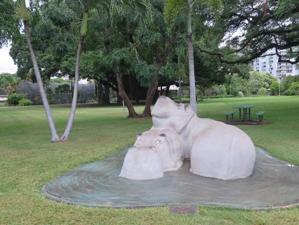 Hippo sculpture for kids to climb.