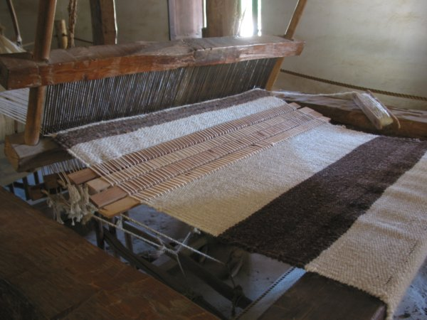 The weaving room. 1,000 blankets were made at the mission each year.
