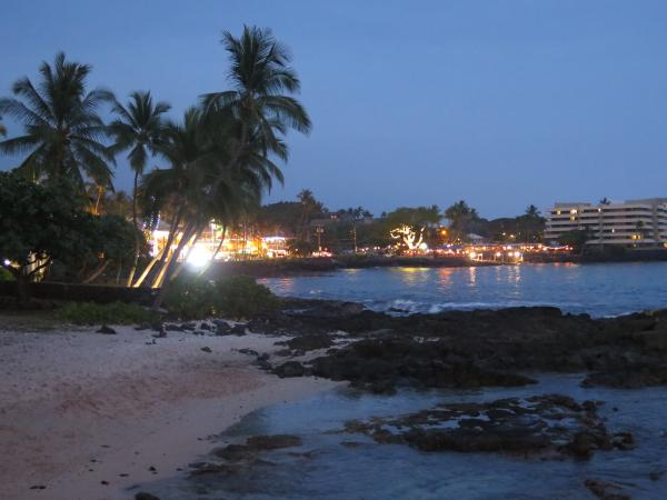 Nighttime view of Ali'i Drive, from Wyland Oceanfront Gallery.