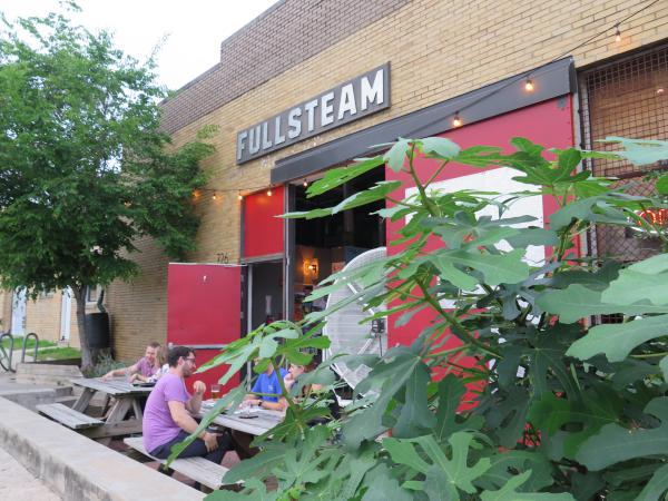 Picnic tables outside Fullsteam Brewery.