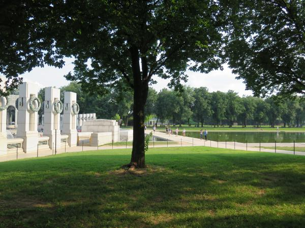 The memorial backs up to the reflecting pool.