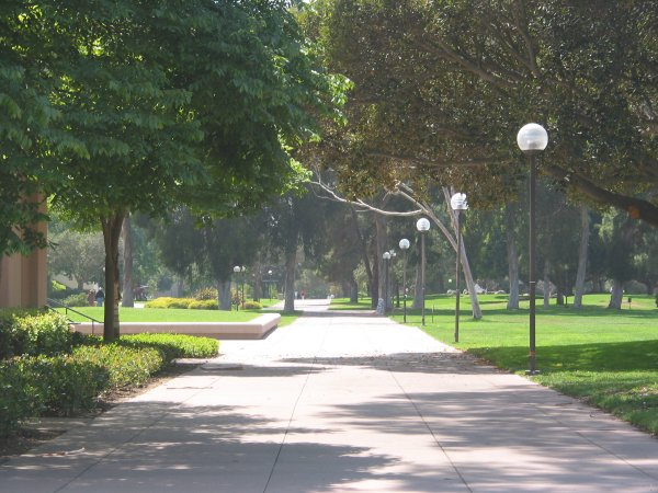 The wide walkway that leads from the center of campus to the Engineering buildings. Wonderful open spaces.