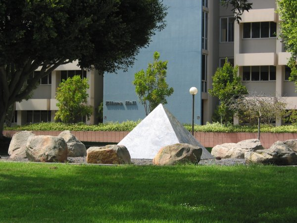 Elison Hall and the pyramid sculpture in front.