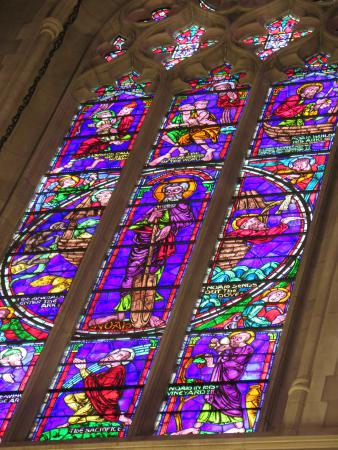 Purple stained glass in the chapel.