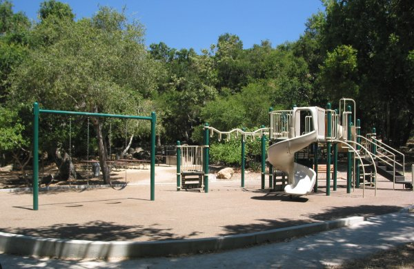 The playground, which often has some shade around the edges.