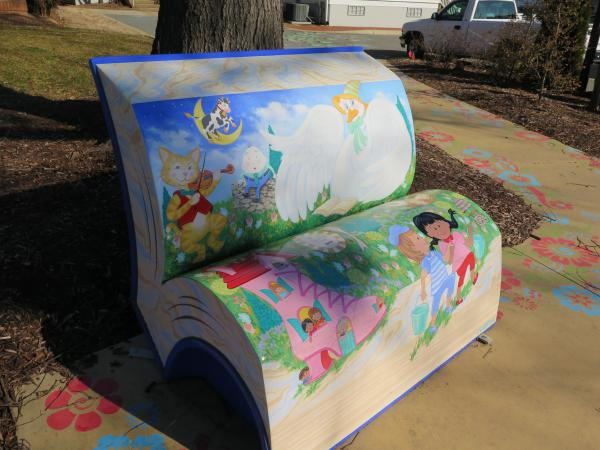 Nursery rhyme bench. I love nursery rhymes!
