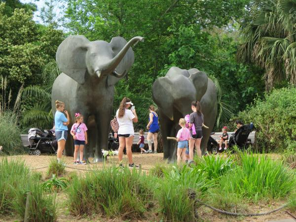 Elephant sculptures.