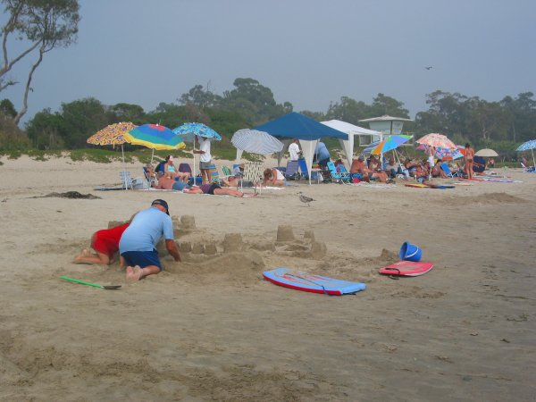 Rows of beach umbrellas and rows of sandcastles!