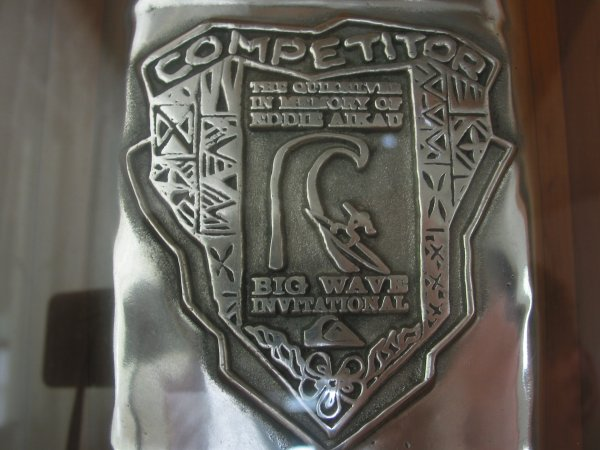 An Eddie Aikau contest trophy- it's a huge honor to own one of these!