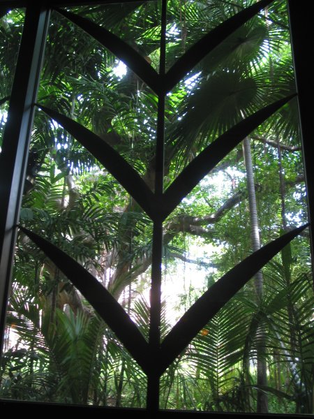 The window at the Cheesecake Factory, looking out on the tropical gardens of the Royal Hawaiian Hotel.