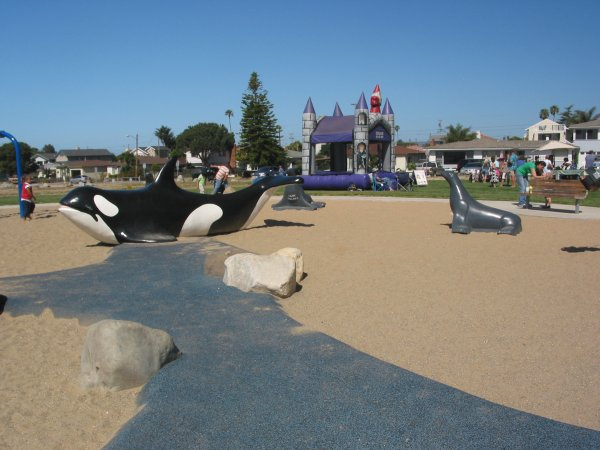A happy Saturday morning at Dinosaur Caves Park- whale and seal sculptures plus craft fair in the background.
