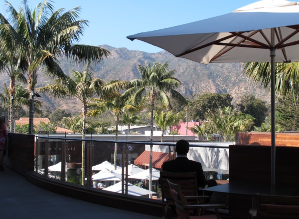 Upstairs in Malibu Lumber Yard Mall. I love this spot! Palms, mountains, a breeze...