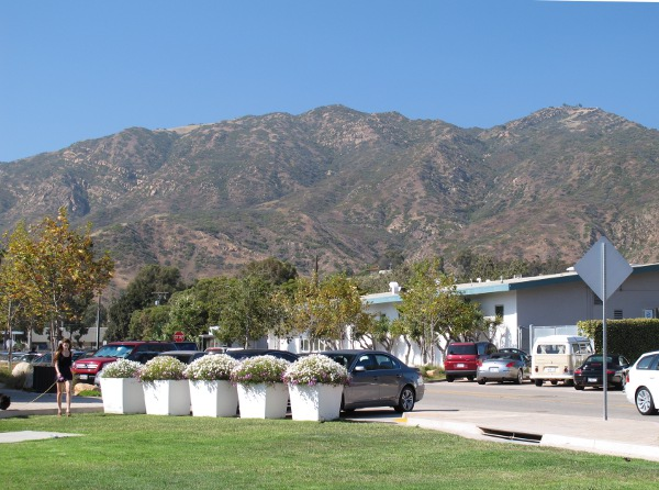 The mountains behind Malibu Lumber Yard Mall.