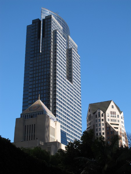 Cool buildings in the LA skyline: the Gas Company Tower, the Biltmore Hotel, the Central Library pyramid.