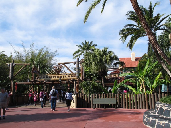 Entering the tropical oasis of Adventureland.
