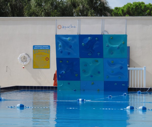 The rock-climbing wall over water!