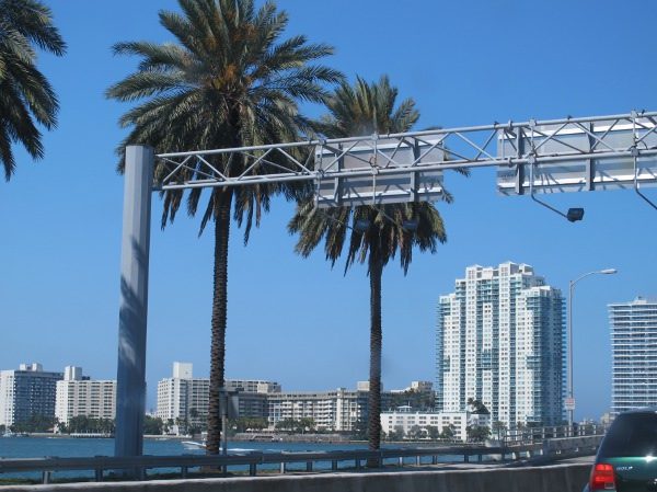 Heading into Miami Beach area- view from MacArthur Causeway.