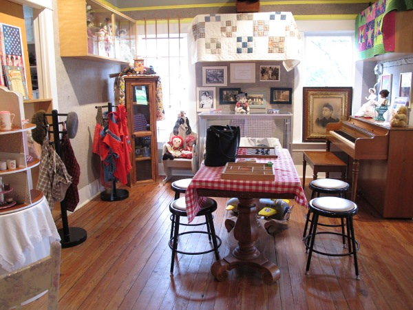 Checkerboard and other antiques.