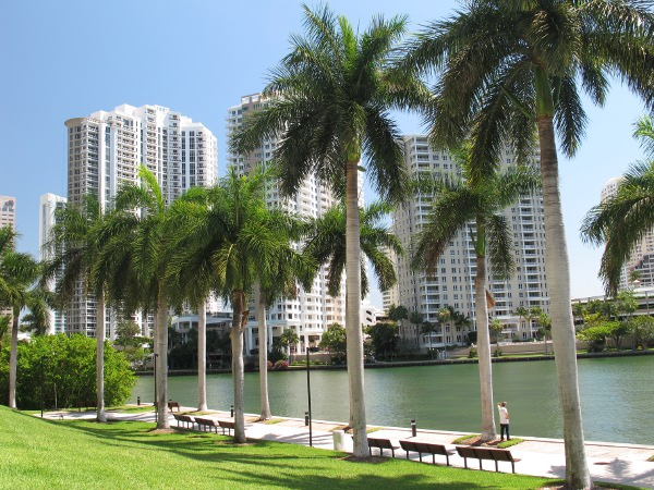 River Walk behind 701 Brickell Ave, a long path for runners.
