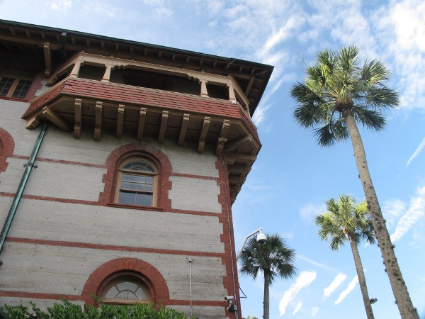 Blue sky and balcony at Ponce de Leon Hall.