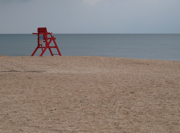 Red lifeguard chair.