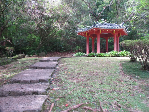 Steps to peaceful gazebo.