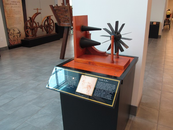 Da Vinci temporary exhibit: Air Meter (anemometer) that measures air force and water force.