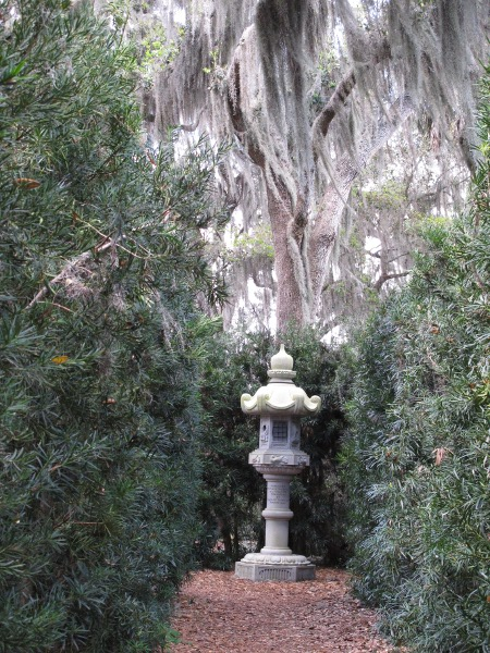 Japanese spirit sculpture and Spanish moss.